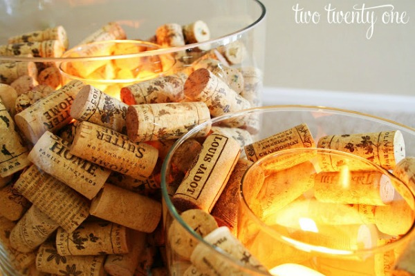 Ways to Decorate With Glass Cylinders- Wine Cork Candle Holder by Two Twenty One