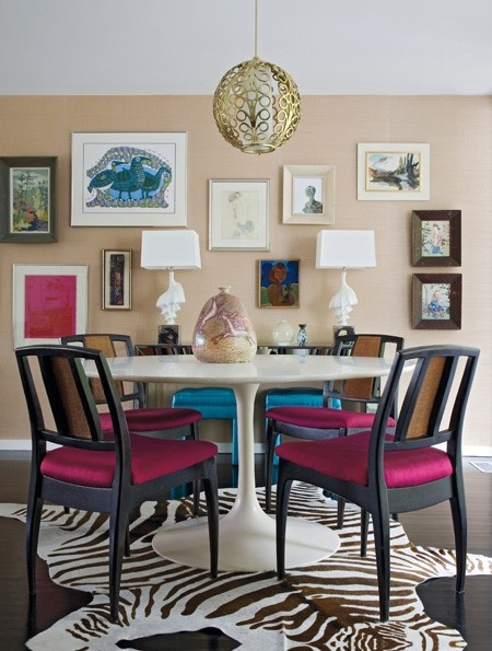 Pink Black And White Dining Room