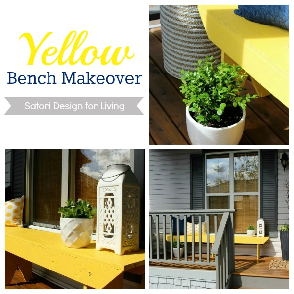 Front Porch Yellow Bench Makeover