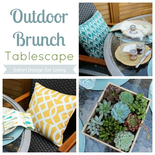 Outdoor Brunch Tablescape- Teal, Yellow and Grey Decorating Palette