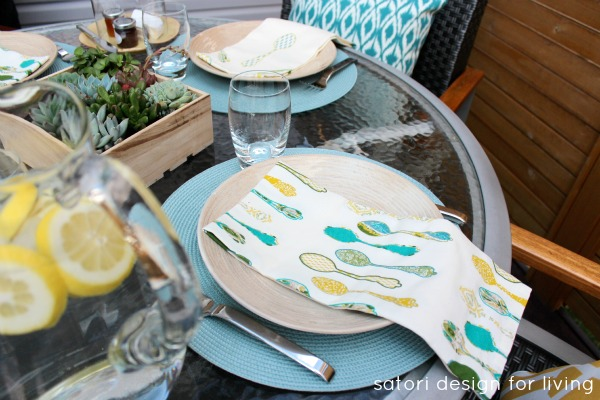 Yellow, Teal and Green Outdoor Brunch Table Setting for Entertaining - Satori Design for Living
