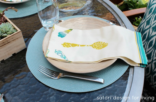 Teal, Yellow and Green Outdoor Brunch Tablescape - Printed Tea Towel Napkins