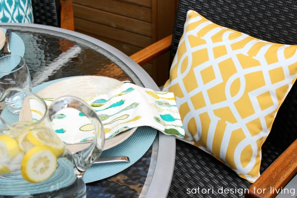 Outdoor Brunch Tablescape - Yellow Trellis Outdoor Pillow - Satori Design for Living