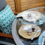 Outdoor Dining - Table Decorating Ideas for Entertaining - Teal Ikat Outdoor Pillow - Satori Design for Living