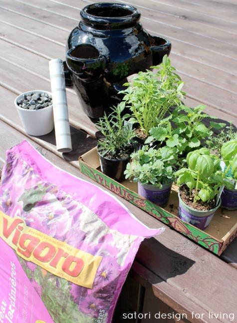 Supplies for Strawberry Pot Herb Garden