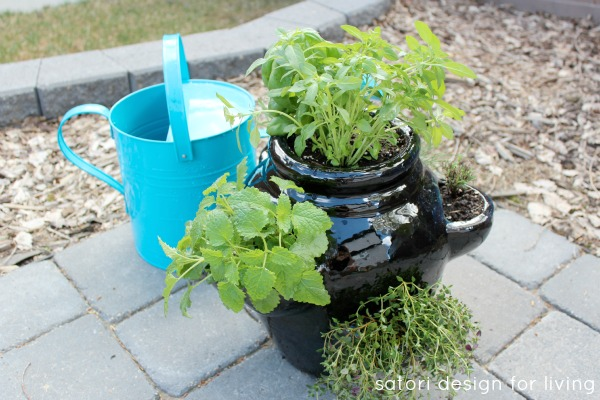 How to Plant a Strawberry Pot Herb Garden - Herb Container Garden - Satori Design for Living