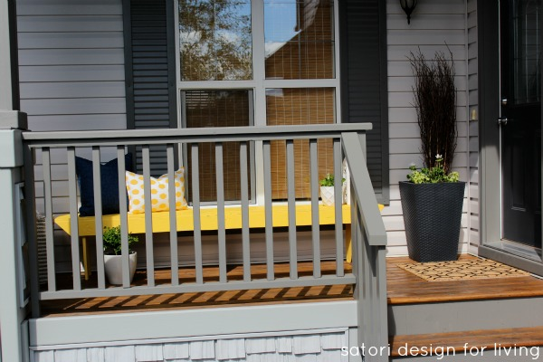 Front Porch Decorating Ideas - Yellow Bench - Satori Design for Living