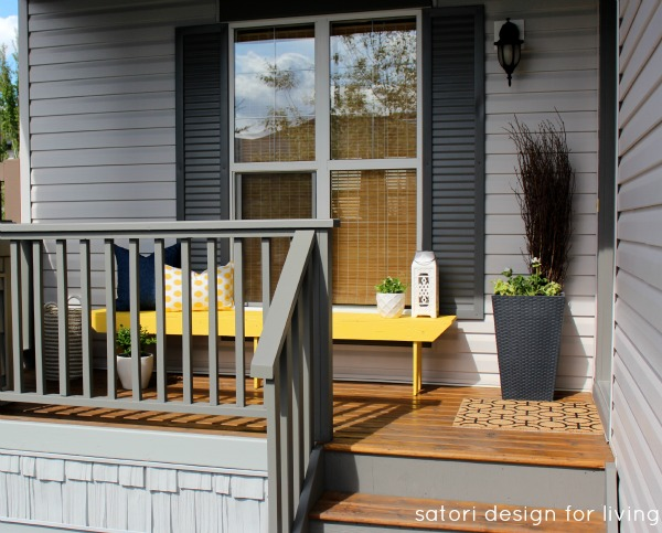 Front Porch Decorating Ideas- Yellow, Blue and White Front Porch Makeover - Satori Design for Living
