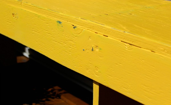 Bright Yellow Bench Makeover - DIY Outdoor Paint Project - Satori Design for Living