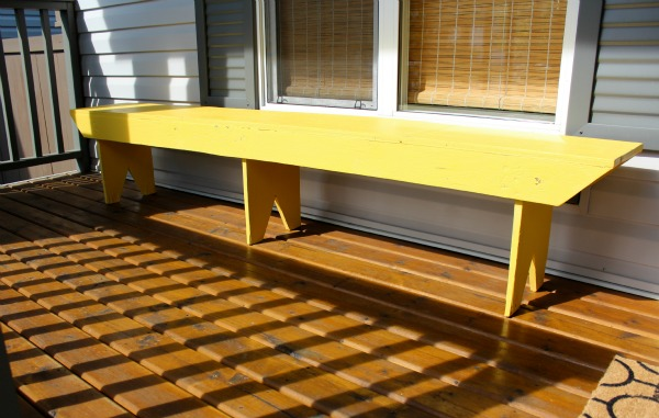 Yellow Bench on Front Porch - Making Over a Salvaged Bench - Satori Design for Living