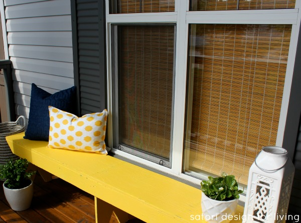 Front Porch Decorating - Painted Yellow Bench with Blue and White Decor - SatoriDesignforLiving.com