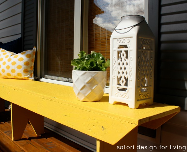 Front Porch Decorating- Yellow Bench with White Lantern - Satori Design for Living