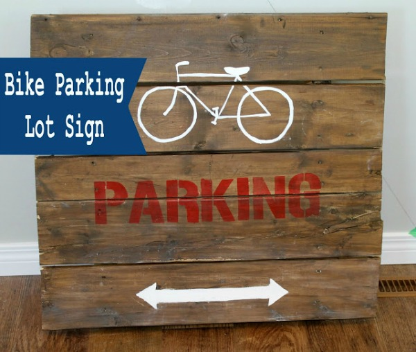 DIY Bike Parking Lot Sign - Blessed Life Atop a Cakestand