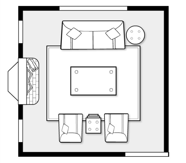 Design Project - Living Room Furniture Space Plan for Open Concept - Satori Design for Living