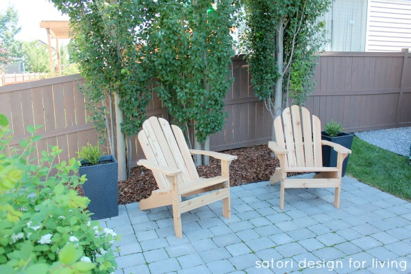 Backyard Updates - Cedar Adirondack Chairs and Grey Stone Patio Pavers - Satori Design for Living