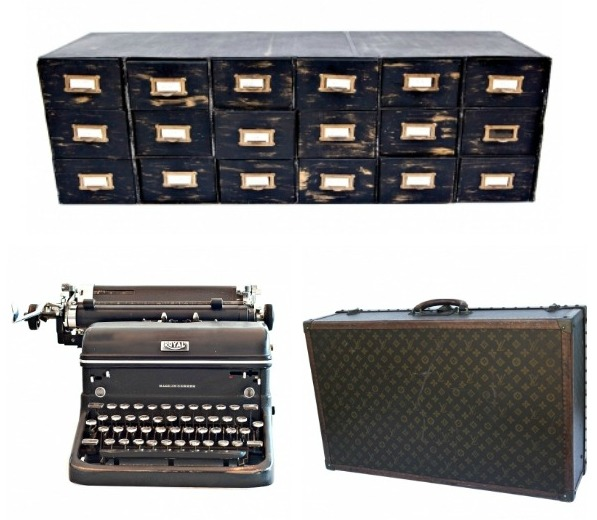 Charlie Ford Vintage - My Picks - Industrial Metal Jewellery Cabinet, Royal Typewriter, Louis Vuitton Vintage Monogrammed Suitcase