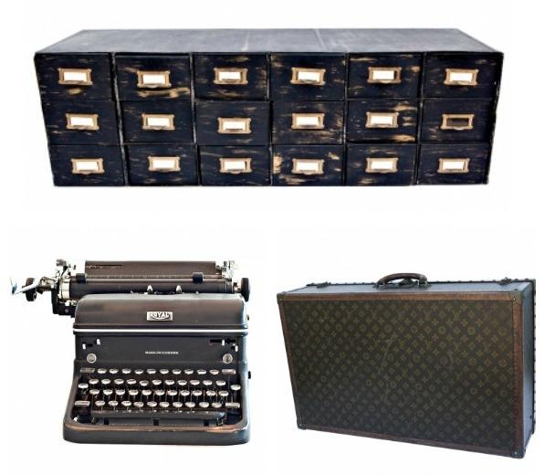 Charlie Ford Vintage - My Picks - Industrial Metal Jewellery Cabinet, Royal Typewriter, Louis Vuitton Vintage Monogrammed Suitcase