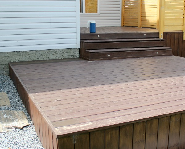 Dark Stained Deck Before
