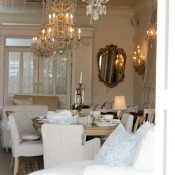 Shabby Chic Style- chandeliers, slipcoverd furniture and vintage decor