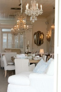 Shabby Chic Style - chandeliers, slipcoverd furniture and vintage decor