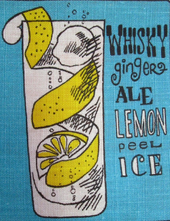 Cocktail Motif vintage tea towel - Nutmeg Vintage on Etsy