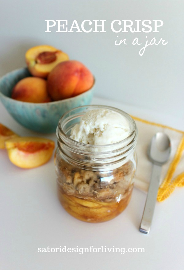Yay for peach season! Right now I'm thinking about canned peaches, peach pie, and one of our favourites, peach crisp. Let's try baking it in a jar!