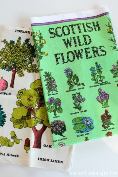 Wildflowers and Trees Vintage Tea Towels - Thrift Shop Find - Satori Design for Living