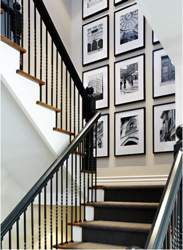 Black and White Photography - Hanging Art in Stairwell - Donna Griffith Photography