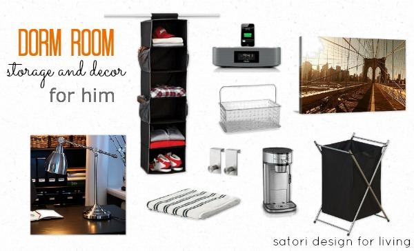 Dorm Room Storage and Decor for Him