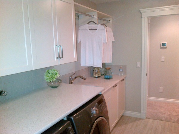 Functional Laundry Room - Grey, Green and White Palette - Quartz Countertop