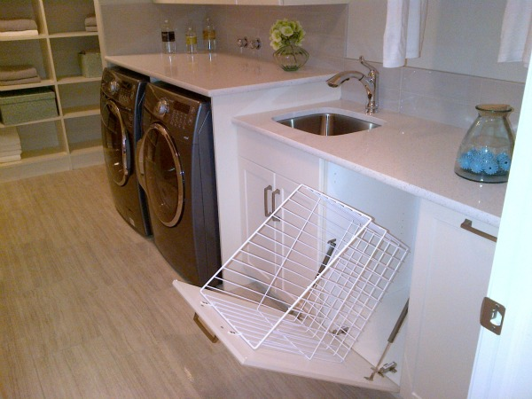 Functional Laundry Room with Pullout Sorting Basket Cabinet