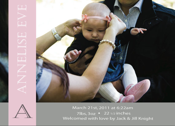 Monogram Birth Announcement with Baby Pic - The Village Press