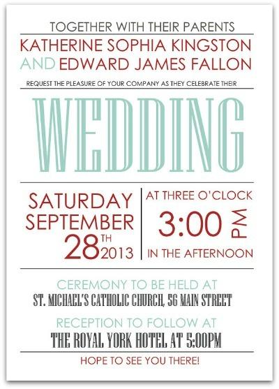 Retro Art Deco Blue and Red Wedding Invitation - The Village Press