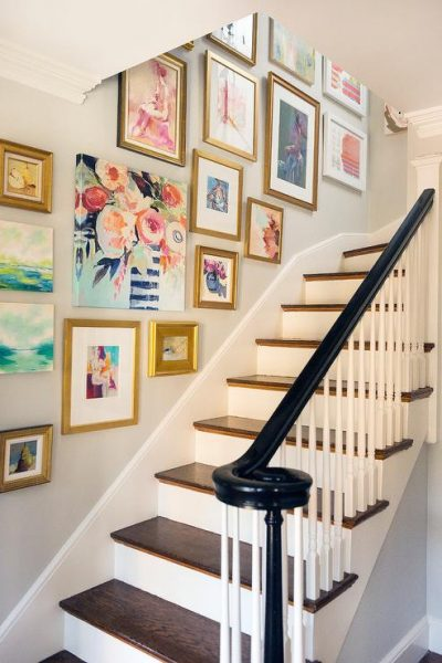 Staircase Wall Art Gallery - Collection of Colorful Art and Gold Gilded Frames - Madarina Studio