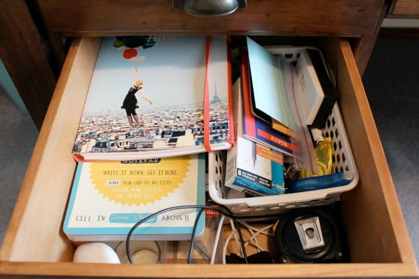 Messy Bottom Desk Drawer - Before