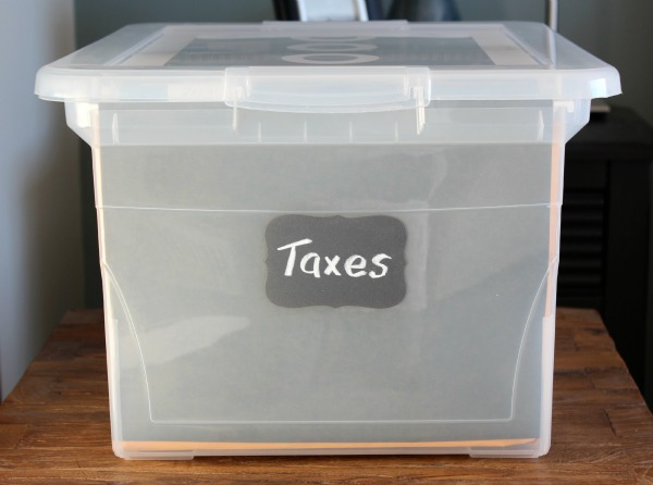 Office Makeover - Storage File Box with Chalkboard Label