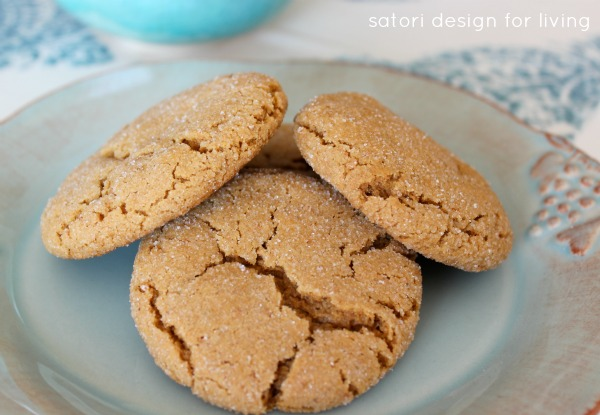 Fall Inspired Recipes - Soft and Chewy Ginger Cookies by Satori Design for Living