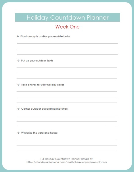 Get Ready for Christmas - Holiday Countdown Planner Week One - Free Printable - Satori Design for Living