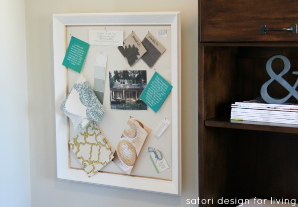 White and Gold Office Inspiration Board - DIY Fabric Pinboard - Satori Design for Living