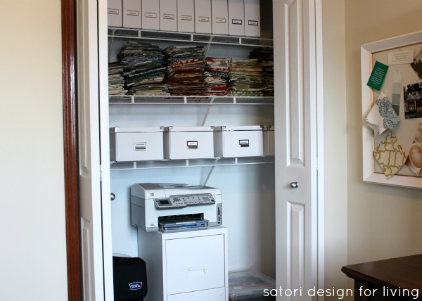 Office Makeover - White Painted File Cabinet, White IKEA Storage Boxes - Organized Office Closet
