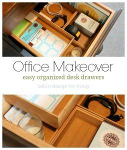 Office Makeover - Easy Organized Desk Drawers - Bamboo Organizers - Satori Design for Living
