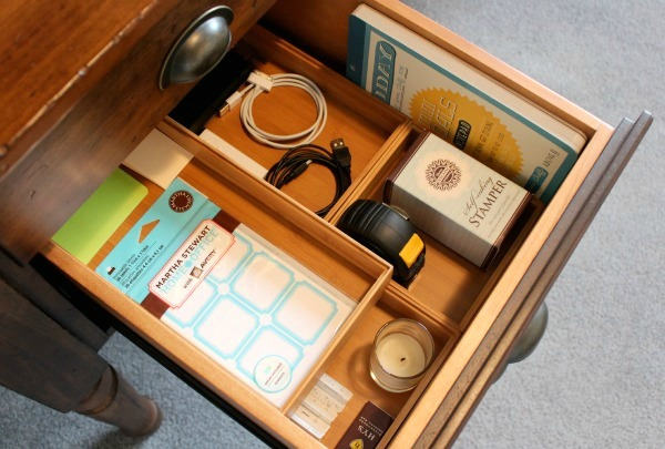 Office Makeover - Organized Desk Drawer with Bamboo Trays - Satori Design for Living