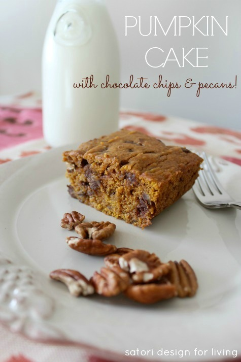 Fall Inspired Recipes - Pumpkin Cake with Chocolate Chips and Pecans by Satori Design for Living