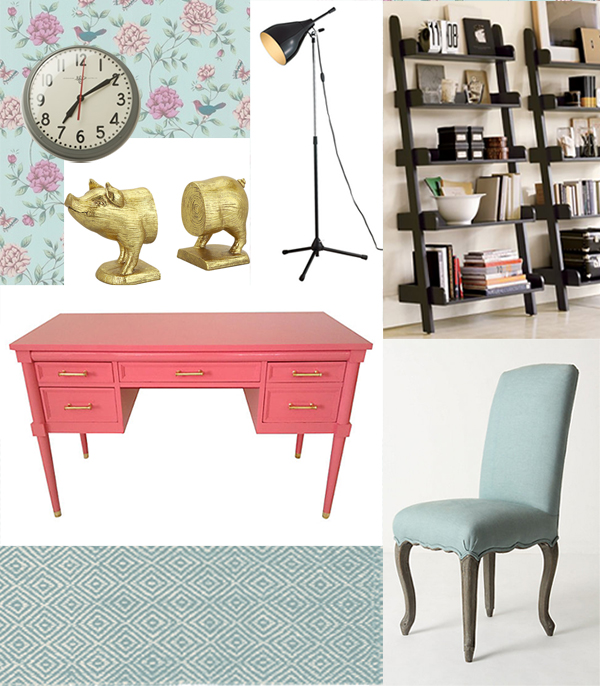 Dorothy Draper Pink Desk - Home Office Moodboard - Designer Challenge Hosted by Satori Design for Living