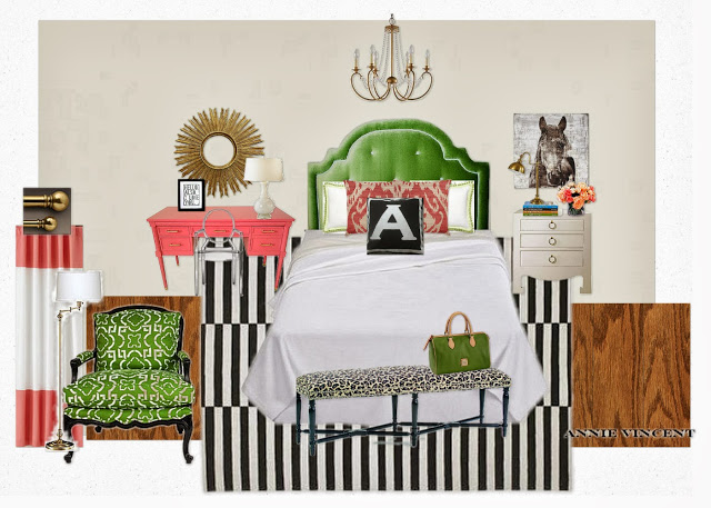 Designer Challenge- Bedroom Mood Board with Dorothy Draper Pink Desk