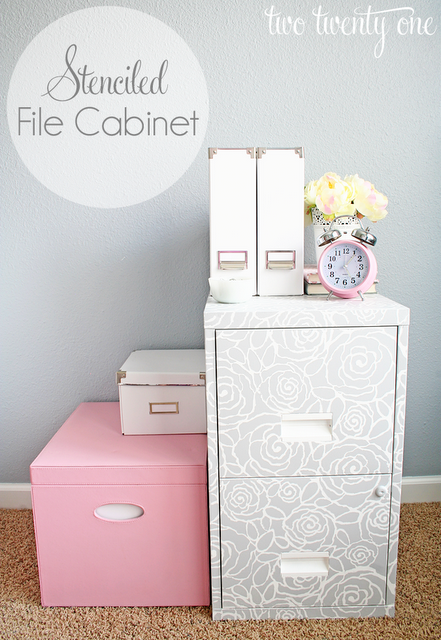 stenciled file cabinet- Two Twenty One