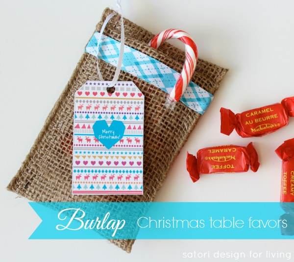 Burlap Table Favors for Christmas