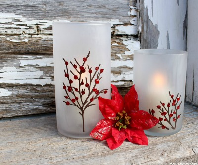 DIY Etched Christmas Candle Holders | The DIY Dreamer