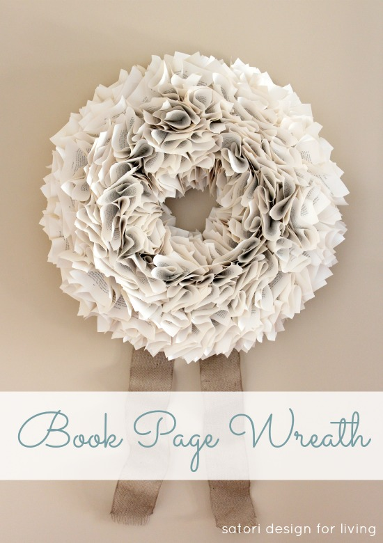 Learn how to make your own beautiful and full-looking book page wreath, plus get ideas for 14 other DIY Christmas wreaths! Full details at SatoriDesignforLiving.com
