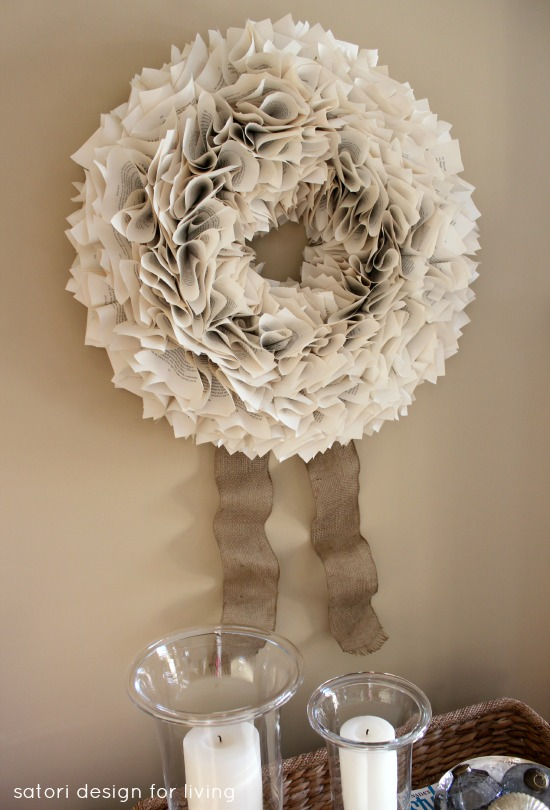 DIY Book Page Wreath with Burlap Ribbon | Satori Design for Living